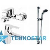 Фото - набор смесителей Armatura Selen 4411-000-00 (4141-010-00+4412-814-00+841-326-00-Bl)