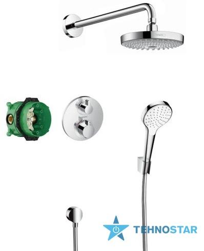 Фото - Душевой гарнитур Hansgrohe ShowerSet Croma Select S/Ecostat S Душевой набор (верхний, ручной душ, ibox, термостат) 27295000