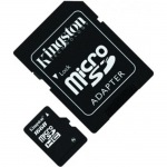 Kingston microSDHC 16 GB Class 4 + SD adapter.