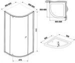 Ravak PSKK3-90 Белый/Хром Transparent +Поддон Ronda 90 ST + Сифон для поддона Basic